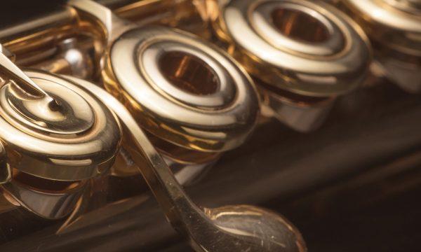 Details, keys of a golden flute black background